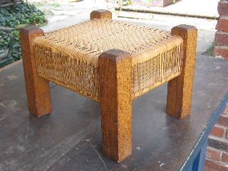 Vintage Mission Oak Foot Stool Bench Woven Reed Bottom Old Quality photo