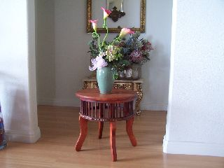 Wow Vtg Mid Century Wood Console End Table With Brass Beading Accents photo