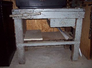 Antique Wood Workbench~vintage~clamp And Vise Attached~pick Up Only photo