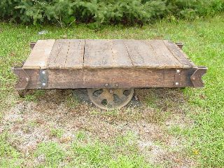 Antique Industrial Factory Lumber Railroad Cart Coffee Table Nutting Lineberry photo