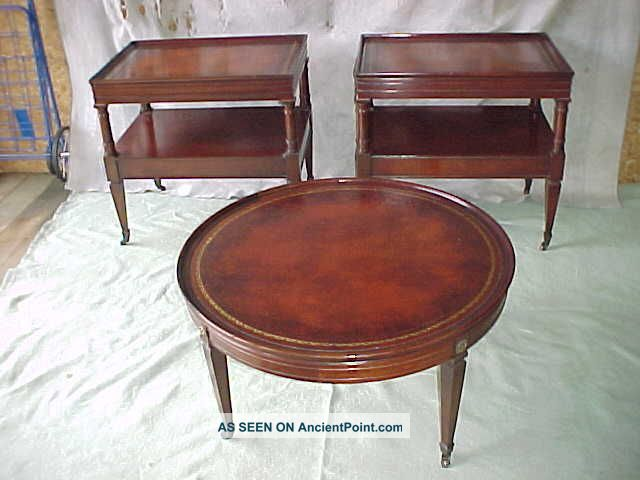 Antique 1940 S Pair Mahogany Leather Top End Lamp Tables