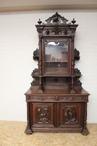 French Hunt Cabinet Carved Fox Head Lots Of Detail photo