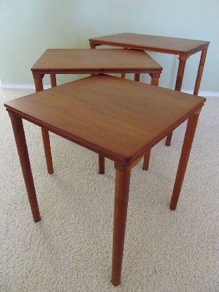 Mid - Century Danish Modern Teak Nesting Tables By Westnofa - Norway photo