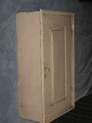 Antique Victorian Painted Medicine Cabinet,  Paneled Door,  2 Shelves,  Molding Detail photo