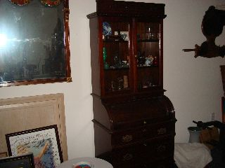 Diminutive Victorian Cylinder Roll Walnut Secretary Desk photo