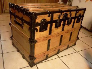 1800s Antique Victorian Furniture Steamer Trunk X Large Restored photo