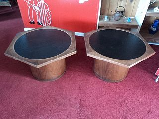 Vintage Mid Century Modern Pair Of End Tables Octegon Shape Wood & Leather Top photo