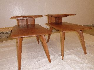 (2) Vintage Heywood Wakefield Step Up End Tables (m308g) ?? photo