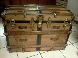 1800s Antique Victorian Steamer Chest Trunk Ex Lg Size photo