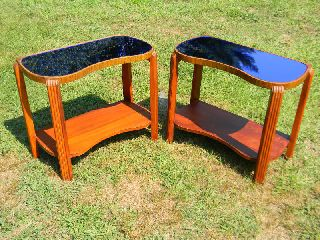 Pair Vintage Antique Art Deco Cobalt Blue Mirror Glass End Tables Night Stands photo