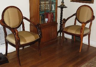 Unusual Pair Of Antique Carved Swan Handle Chairs W Silk Striped Upholstery Nr photo