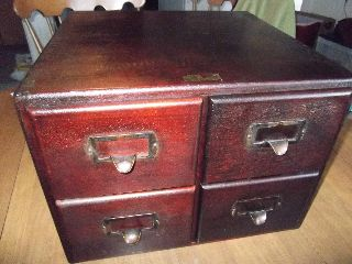Antique Physicians 4 Drawer Index Wood Cabinet Dovetail Corners Label File Vtg photo