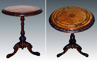 Stunning Victorian Burl Walnut & Inlaid Occasional Table With Elaborate Carving photo
