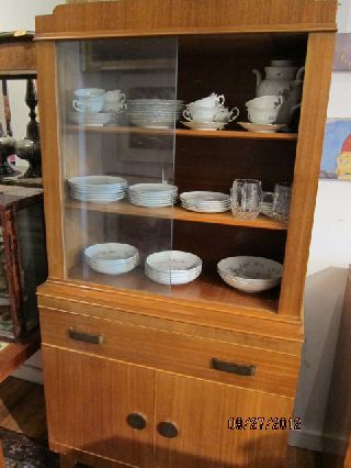Oak Mid Century Modern Vitrine Cupboard Large Drawer Shelved Cabinet photo
