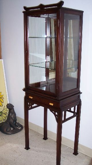 1940s Vintage Antique Curio Cabinet Mahogany Display Cabinet Chinese Chippendale photo