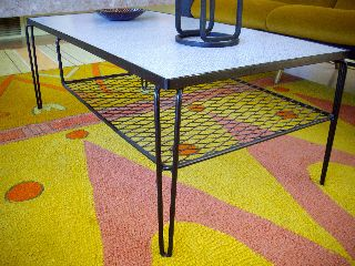 Retro 1950s Mid - Century Atomic Iron Coffee Table Eames Mccobb Grossman Knoll photo
