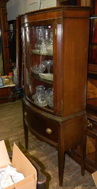 Vintage C1940s Mahogany Bow Front China Cabinet Curved Glass Door Shelves Drawer photo