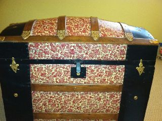 Vintage Antique Hump Back Steamer Trunk Beautifully Restored Pat Mar 1880 photo