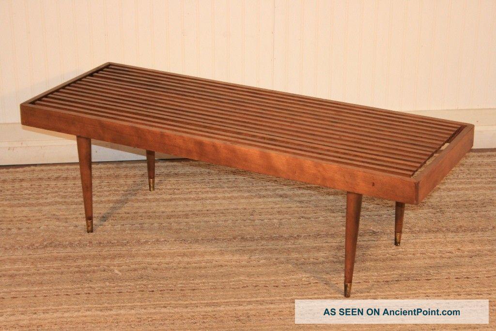 Mid Century Modern Slat Bench Coffee Table