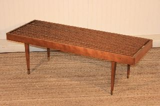 Vtg Mid Century Modern Slat Bench Coffee Table Danish Design Nelson Eames Era photo