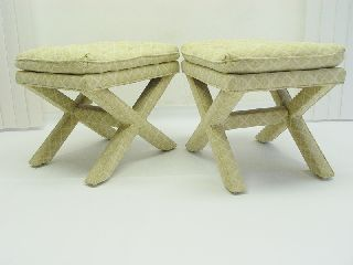 Vintage Pair Mid Century Modern Ottoman Stool Hollywood Regency Drapper photo
