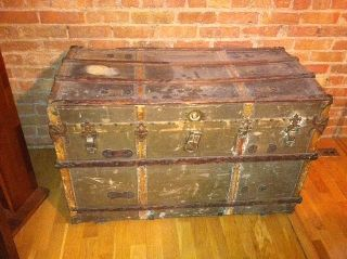 Vintage Steamer Trunk W/ Eagle Lock Co.  Lock photo