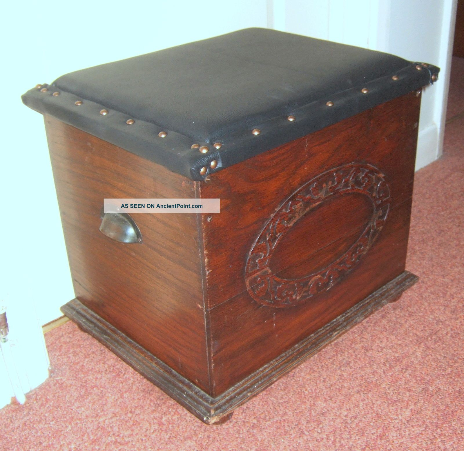 Antique Oak Bench Storage Box/chest Applied Carving Padded Seat Lid Edwardian (1901-1910) photo