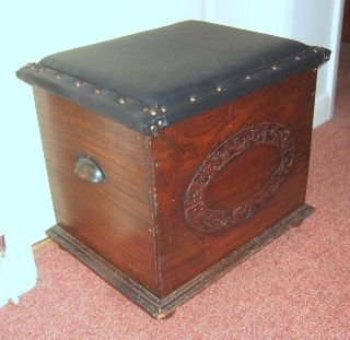 Antique Oak Bench Storage Box/chest Applied Carving Padded Seat Lid photo