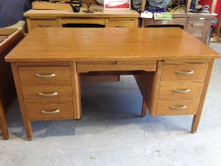 1961 Antique Riff Cut Oak Wood Desk From The Univ Of Texas By Leopold Company photo