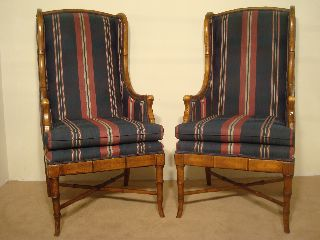 Pair Baker Furniture Company Highback Wing Faux Bamboo