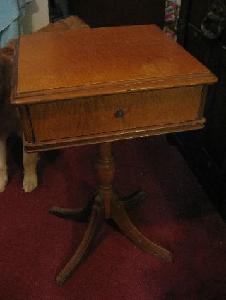 Maddox Square Antique Table,  Nightstand,  With Small Front Drawer photo