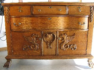 Antique Oak Buffet With Griffins photo