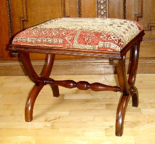 English Upholstered Rosewood Framed Foot Stool,  C.  1860 photo