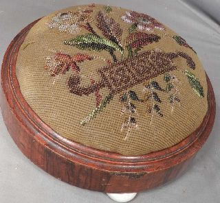 Antique Early Victorian Round Footstool Porcelain Feet Berlin Beadwork Cover photo