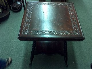 Mahogany Carved Top Square Table photo