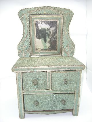 Antique Green Salesman Sample Mini Wood Bureau Dresser Vanity With Mirror photo