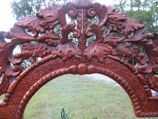 Antique Mahogany Carved Stand With Ornate Glass Display photo