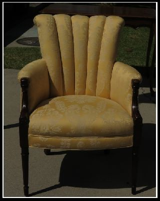 Antique Art Deco Club Chair W Yellow Damask Upholstery Nr photo