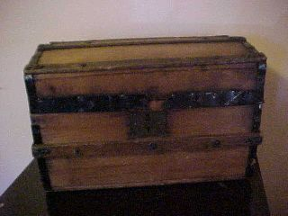 Antique: Primitive Wood Dome Doll Trunk photo