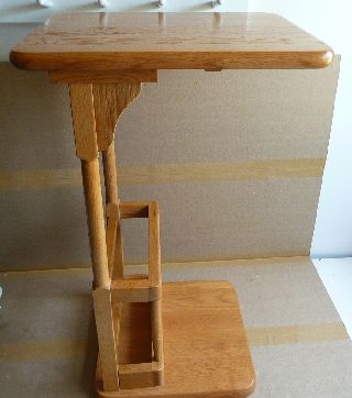 Vintage Solid Oak Telephone Table photo
