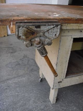 Vintage Work Bench/cabinet W/vise photo