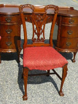 Antique Mahogany Ball & Claw Chippendale Bedroom Chair photo