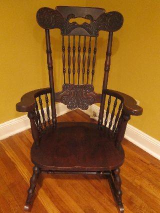 Antique Victorian Double Press Back Rocking Chair photo
