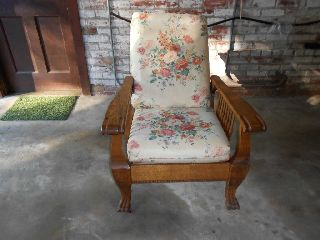 Antique Golden Oak Claw Foot Morris Chair photo