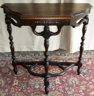 Antique Walnut Top,  Carved Wood Accent Table/ Stand photo
