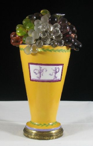 Art Deco Czech Glass Fruit Grape Vase Table Lamp Hand Painted C.  1920 ' S photo