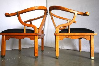 Pair Mid Century Chinese Horseshoe Arm Chairs Regency Deco Vtg Ming Eames Mont photo