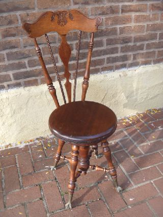 Finest Oak Piano Organ Stool Ever - Fancy Back - Barley Twist - Decorated Stool Border photo
