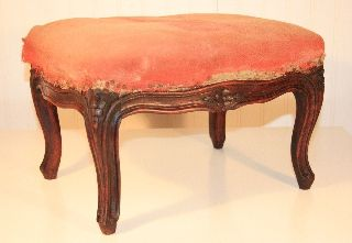 Adorable Antique Vtg Petite Small French Floral Carved Walnut Footstool Ottoman photo