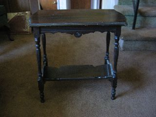Antique Table With Shelf For Books Below,  Dark Wood,  Hand Crafted photo